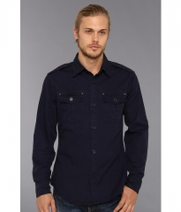 Authentic Apparel US Army Fairway LS Woven Navy at Zappos