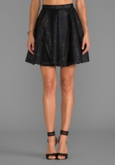 BB DAKOTA Brian Perforated Faux Leather Mini Skirt in Black at Revolve