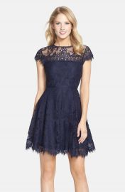 BB Dakota  Rhianna  Illusion Yoke Lace Fit   Flare Dress  Nordstrom Exclusive at Nordstrom