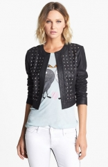BB Dakota Blakely Studded Leather Jacket at Nordstrom