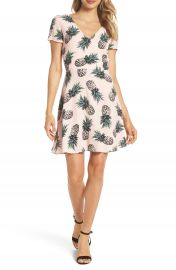BB Dakota Pineapple Print Tie Back Fit   Flare Dress at Nordstrom