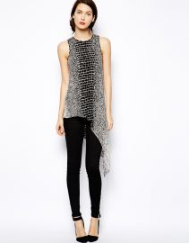 BCBG MaxAzria  BCBGMAXAZRIA Top in Croc Print with Asymmetric Hem at Asos