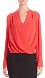 BCBGMAXAZRIA - Jaklyn Draped Front Blouse red at Saks Fifth Avenue