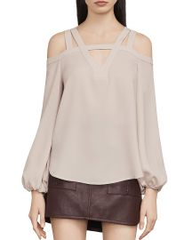 BCBGMAXAZRIA Tina Cold Shoulder Cutout Blouse at Bloomingdales