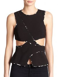 BCBGMAXAZRIA - Arianah Cutout Peplum Top at Saks Fifth Avenue