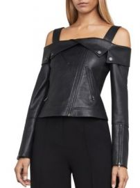 BCBGMAXAZRIA - Clyde Knit Faux Leather Jacket at Saks Off 5th