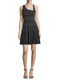 BCBGMAXAZRIA - Embellished Knit City Fit- -Flare Dress at Saks Off 5th