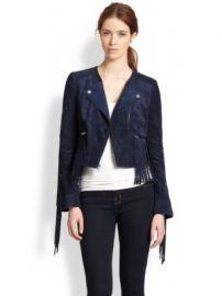 BCBGMAXAZRIA - Faux Suede Fringe-Trim Moto Jacket at Saks Fifth Avenue