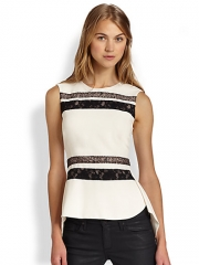 BCBGMAXAZRIA - Lace-Trim Split-Back Peplum TopWhite at Saks Fifth Avenue