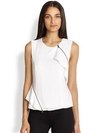 BCBGMAXAZRIA - Leslee Zippered Ruffle Tank at Saks Fifth Avenue