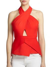 BCBGMAXAZRIA - Remmie Open-Back Peplum Halter Top at Saks Fifth Avenue