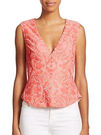 BCBGMAXAZRIA - Rena Lace Peplum Tank Top at Saks Fifth Avenue