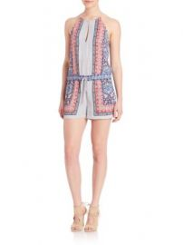 BCBGMAXAZRIA - Tyra Scarf Print Halter Short Jumpsuit at Saks Off 5th