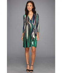BCBGMAXAZRIA Adele Printed Wrap Dress ULR6Z776 Evergreen Combo at 6pm