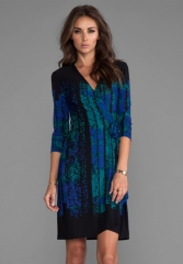 BCBGMAXAZRIA Adele Wrap Dress in Dark Teal Combo at Revolve
