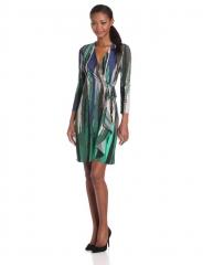 BCBGMAXAZRIA Adele Wrap Dress in Evergreen Combo at Amazon