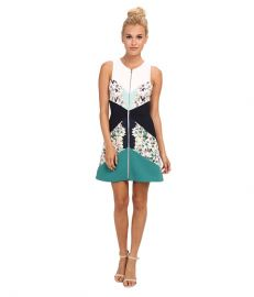 BCBGMAXAZRIA Alaina Print Blocked Sleeveless Sheath Dress Light Aqua Combo at 6pm