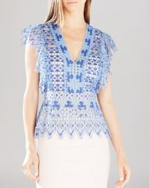 BCBGMAXAZRIA Ambar Geometric Lace Top at Bloomingdales