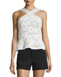 BCBGMAXAZRIA Annica Sleeveless Lace Peplum Top  White at Neiman Marcus