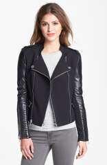 BCBGMAXAZRIA Asymmetrical Ponte andamp Leather Moto Jacket at Nordstrom
