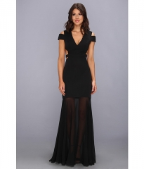 BCBGMAXAZRIA Ava Cutout Gown Black at Zappos