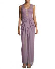 BCBGMAXAZRIA Brandy Sleeveless Lace Illusion Gown at Neiman Marcus
