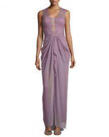 BCBGMAXAZRIA Brandy Sleeveless Lace Illusion Gown at Neiman Marcus