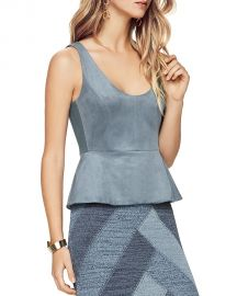 BCBGMAXAZRIA Cladiana Peplum Top Blue x at Bloomingdales