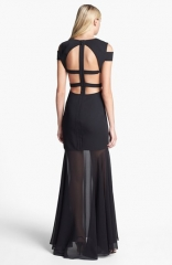 BCBGMAXAZRIA Cutout Detail Gown in black at Nordstrom