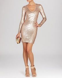 BCBGMAXAZRIA Dress - Sabryna V-Neck Sequin Python Pattern at Bloomingdales