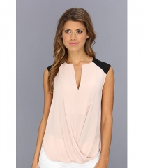 BCBGMAXAZRIA Gisele Draped Front Blouse Bare Pink at Zappos