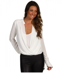 BCBGMAXAZRIA Jaklyn Draped Front Top Alabaster at Zappos