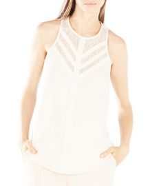 BCBGMAXAZRIA Jay Illusion Lace Neck Top in Cream at Bloomingdales