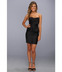 BCBGMAXAZRIA Karina Strapless Peplum Dress Black at 6pm