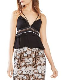 BCBGMAXAZRIA Kensey Lace Inset Flounce Tank at Bloomingdales