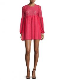 BCBGMAXAZRIA Kitra Bishop-Sleeve Mini Babydoll Cocktail Dress Lipstick Red at Neiman Marcus