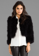 BCBGMAXAZRIA Maragaret Faux Fur Jacket in Black at Revolve