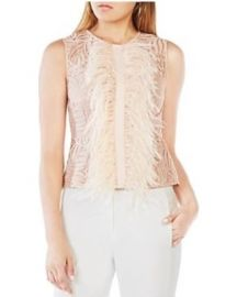 BCBGMAXAZRIA Meg Feather-Trim Top pink at Bloomingdales