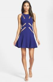 BCBGMAXAZRIA Mesh Cutout Skater Dress at Nordstrom