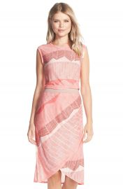 BCBGMAXAZRIA Mikela Print Wrap Detail Midi Dress at Nordstrom
