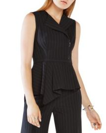 BCBGMAXAZRIA Pinstripe Peplum Top at Bloomingdales
