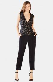 BCBGMAXAZRIA Rena Appliqu Cotton Blend Peplum Top at Nordstrom