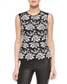 BCBGMAXAZRIA Shanine Sleeveless LaceGeorgette Top at Neiman Marcus