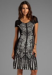BCBGMAXAZRIA Short Sleeve Printed Dress in Black Combo at Revolve
