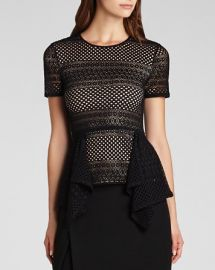 BCBGMAXAZRIA Top - Vicktoria Mixed Knit Peplum at Bloomingdales