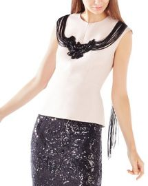 BCBGMAXAZRIA Virginie Fringe Embellished Peplum Top at Bloomingdales