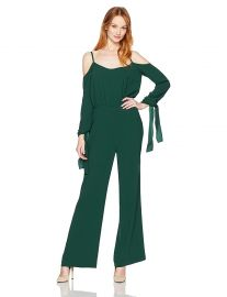 BCBGMAXAZRIA Women s Jordane Woven Cold Shoulder Jumpsuit at Amazon