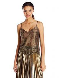 BCBGMAXAZRIA Women s Mady Metallic Lace Cami at Amazon