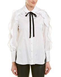 BCBGMAXAZRIA Women s Ruffle Sleeve Cotton Shirt at Amazon