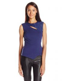 BCBGMAXAZRIA Womenand39s Farrah Asymmetrical Keyhole Top Classic Blue Medium at Amazon
